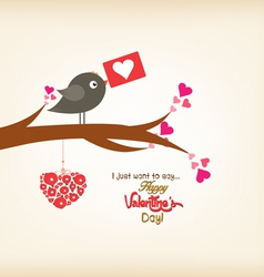 happy valentines day greeting card with bird vector image