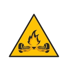Horverboard in flames sign icon vector