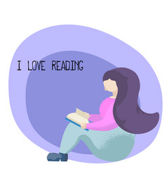 i love reading flat with girl vector image