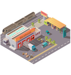 isometric warehouse and petrol station delivery vector image