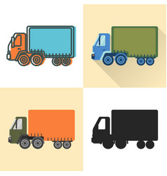 jumbo truck icon set in flat and line styles vector image