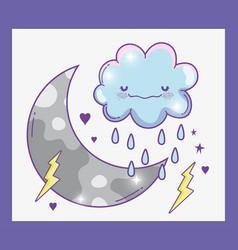Kawaii fluffy cloud raining with thunder and moon vector