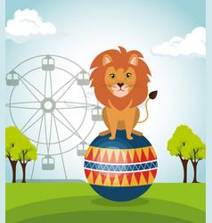Lion circus show icons vector