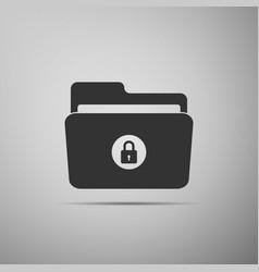 locked folder icon isolated on grey background vector image
