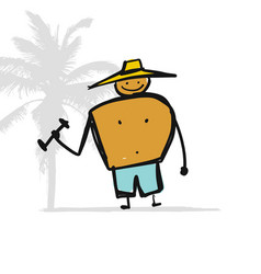 man with dumbbells on beach sketch for your vector image