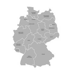Map germany decided to 13 federal states and 3 vector
