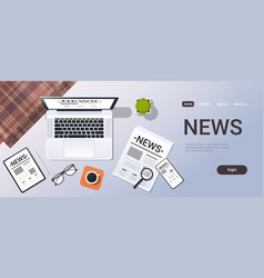 Mass media news concept top angle view desktop vector