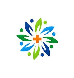 Medical green abstract flower logo vector