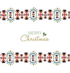merry christmas festive folk decoration card vector image