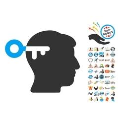 Mind Key Icon With 2017 Year Bonus Symbols vector
