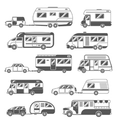 Motorhomes Black White Icons Set vector