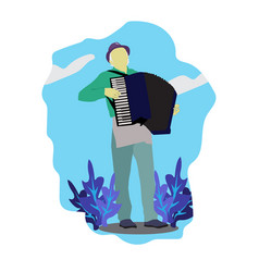 Musician male playing accordion vector
