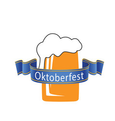 Oktoberfest blue ribbon beer mug background vector