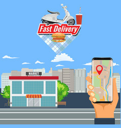 Online shopping order and delivery with motorcycle vector