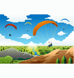 People paragliding vector