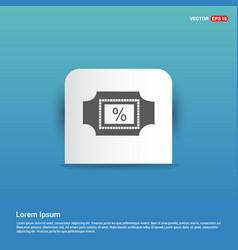 percentage icon - blue sticker button vector image