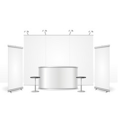 realistic detailed 3d blank exhibition stand vector image