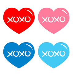 Red blue pink heart icon set xoxo phrase sketch vector