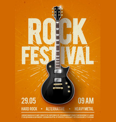 Rock festival concert flyer or poster with guitar vector