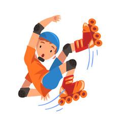 Rollerblading boy teen boy falling on roller vector