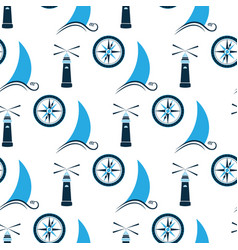 sailboat on wave lighthouse and sea compass vector image