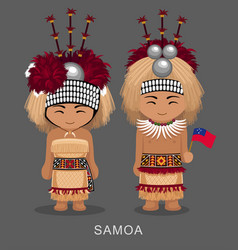 Samoans in national dress with a flag vector