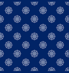 Seamless travel pattern with windrose line style vector
