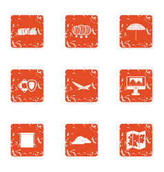 Search location icons set grunge style vector