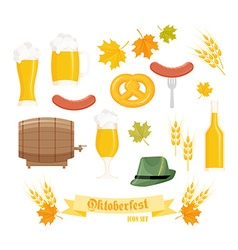 set of detailed flat oktoberfest objects - glass vector image
