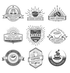 Set of nine coffee logo templates coffee labels vector