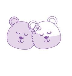Silhouette cute animal couple bear head together vector