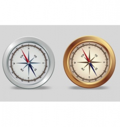 silver and bronze compasses vector image