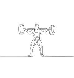 single continuous line drawing young strong vector image