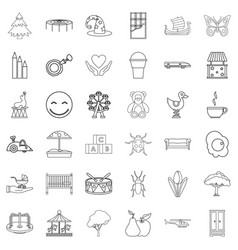 Sitter icons set outline style vector