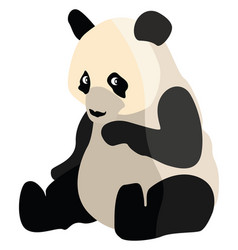 Sitting panda on white background vector
