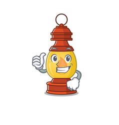 Smiley mascot lantern scroll making thumbs up vector