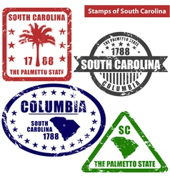 South Carolina in stamps vector image