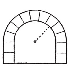 Stilted arch vertically vintage engraving vector
