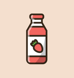 Strawberry smoothie drinking yogurt vector