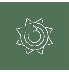 Sun with round arrow icon drawn in chalk vector image