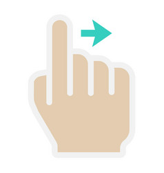 swipe right flat icon touch and hand gestures vector image