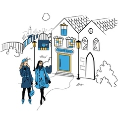 Town with girls silhouette vector