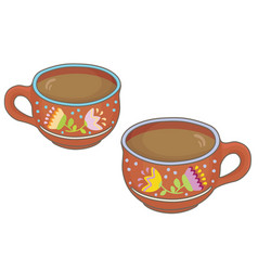 Two clay cups vector