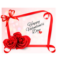 valentines background with two red heart shaped vector image