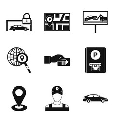 Valet icons set simple style vector