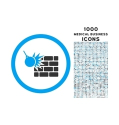 Wall Destruction Rounded Icon with 1000 Bonus vector