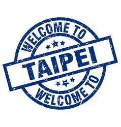 Welcome to taipei blue stamp vector