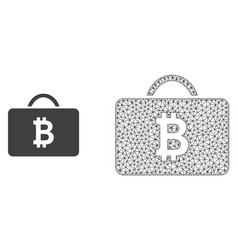 Wire frame mesh bitcoin case and flat icon vector