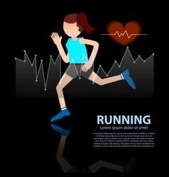 Woman running healthy lifestyle figure with hear r vector