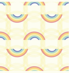 yellow pattern with coloured rainbows vector image